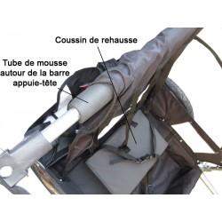 Rehausse de remorque à vélo : coussin + protection appuie-tête