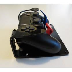 Manette de PS4 adaptée pour le handicap avec détournement des boutons R1, L1 et R2, L2 et fixation sur un socle antidérapant