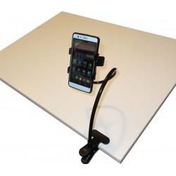 Support flexible économique pour smartphone, contacteur, tuyau de boisson... Fixation par pince à ressort.