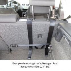 Système de sangle universel pour l'accroche du harnais de maintien, adaptable à tout dossier de voiture