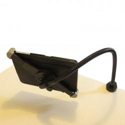 support d'Ipad ou tablette tactile fixé par pince-étau pour flexible.
