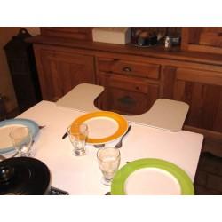 Rallonge de table échancrée pour handicapé pour l'accessibilité au repas