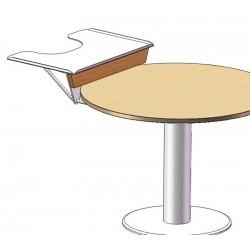 Tablette échancrée surélevée, adaptable sur une table ronde.