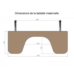 Tablette à encoche amovible petit modèle, dimensions.