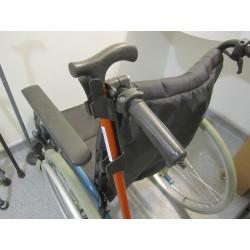 Porte canne ou béquille pour fauteuil roulant avec fixation universelle, vue en détails du support