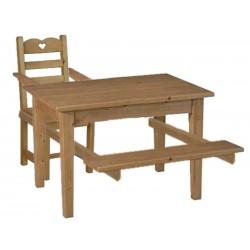 Combiné table chaise banc avec enfant