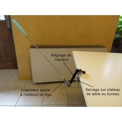 Détail du support de tige buccale fixer sur une table