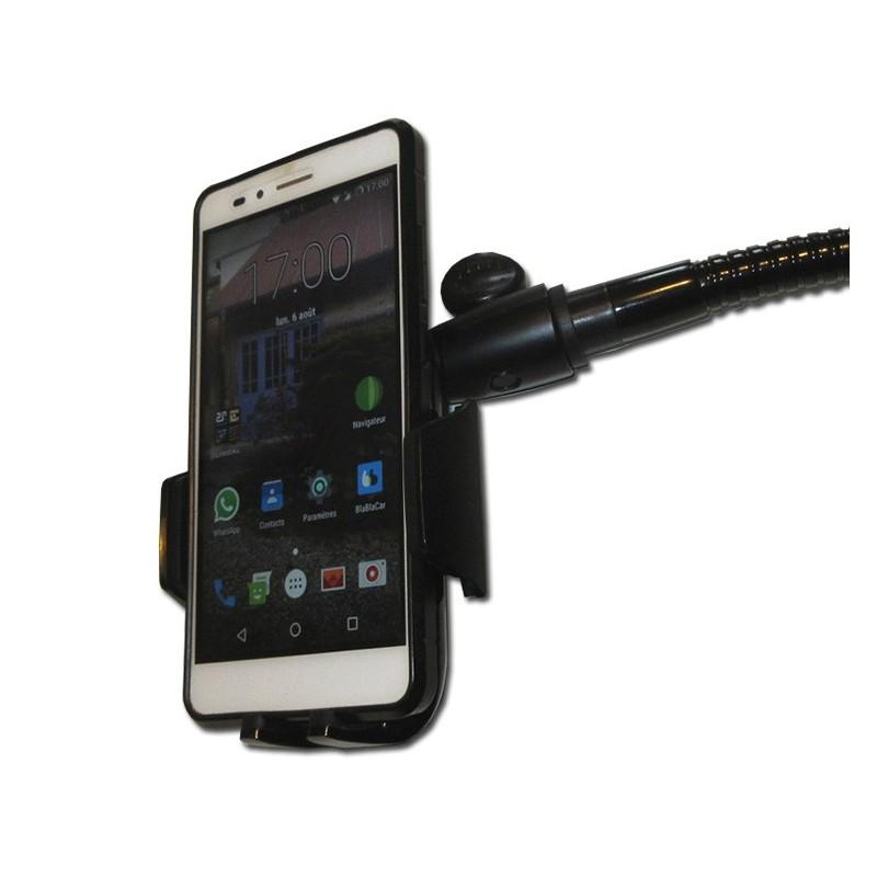 Support de smartphone ou téléphone portable sur flexible pour fauteuil roulant.