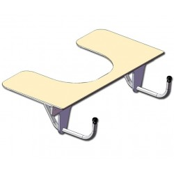 Tablette échancrée amovible pour l'accessibilité en fauteuil roulant à la table commune