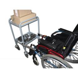 Liaison entre une desserte roulante d'atelier et un fauteuil roulant