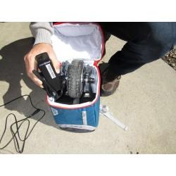 rangement de l'adaptation (moteur, bras et batterie) dans le sac