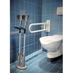 Porte béquille ou canne facilement déplaçable pour les transferts au WC