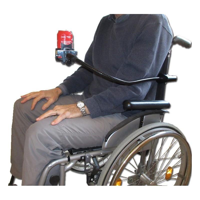 Support de canette ou boisson sur flexible pour fauteuil roulant