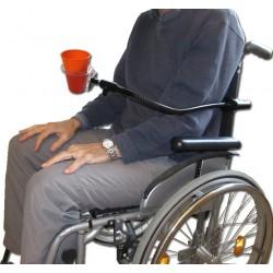 Porte verre ou gobelet sur flexible pour fauteuil roulant