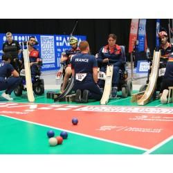 Compétition de Boccia avec rampes de lancement